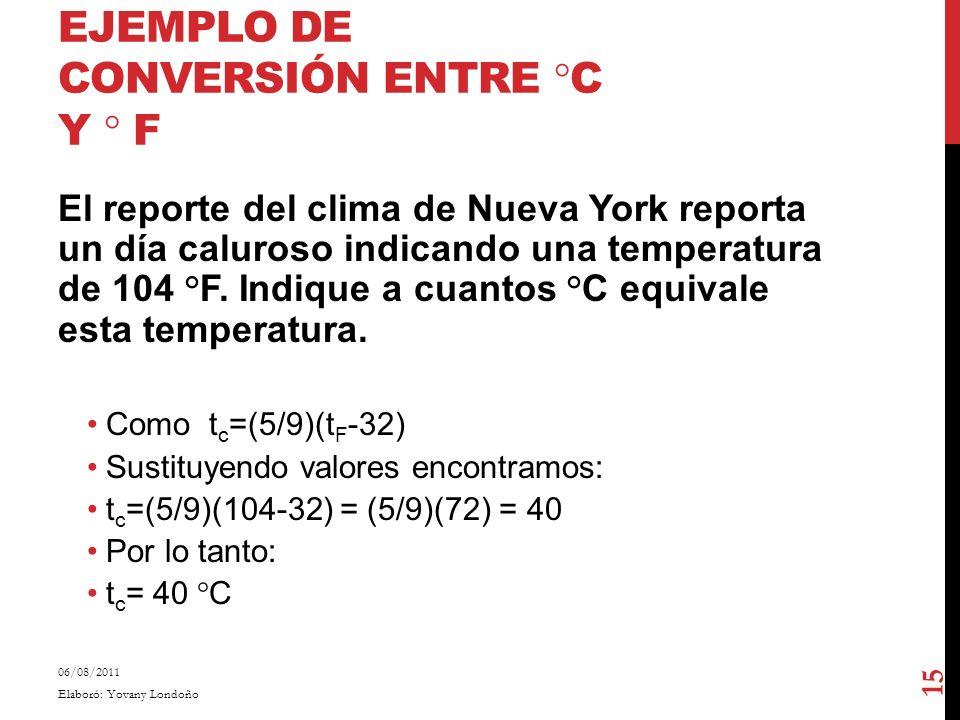 EJEMPLO DE CONVERSIÓN ENTRE °C Y ° F El reporte del clima de Nueva York reporta un día caluroso indicando una temperatura de 104 °F. Indique a cuantos