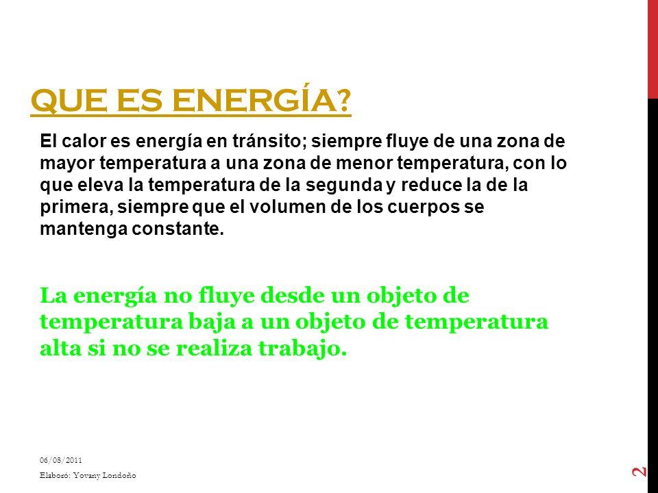 QUE ES ENERGÍA? El calor es energía en tránsito; siempre fluye de una zona de mayor temperatura a una zona de menor temperatura, con lo que eleva la t