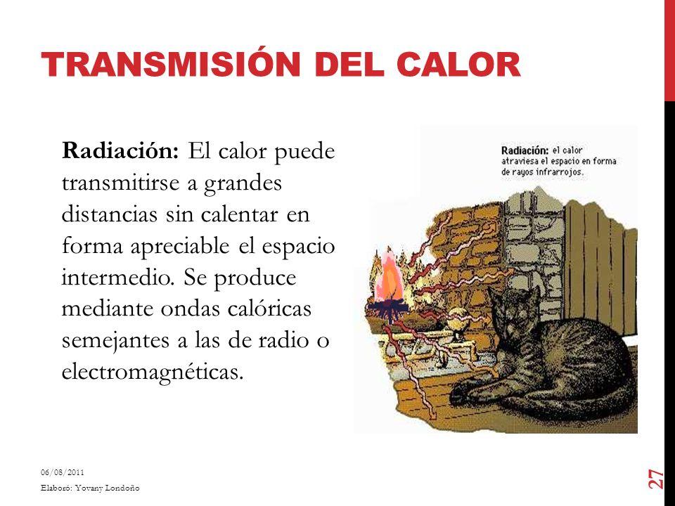 TRANSMISIÓN DEL CALOR Radiación: El calor puede transmitirse a grandes distancias sin calentar en forma apreciable el espacio intermedio. Se produce m