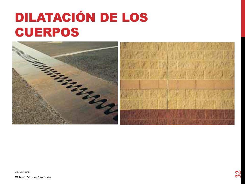 DILATACIÓN DE LOS CUERPOS 06/08/2011 Elaboró: Yovany Londoño 32