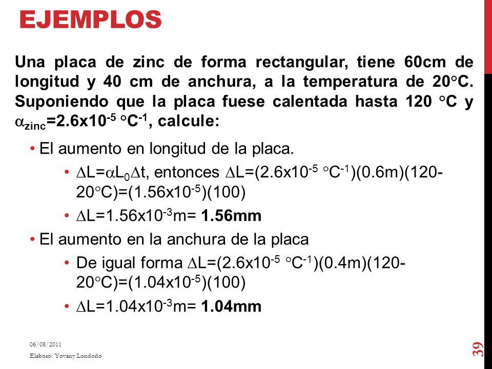 EJEMPLOS Una placa de zinc de forma rectangular, tiene 60cm de longitud y 40 cm de anchura, a la temperatura de 20°C. Suponiendo que la placa fuese ca