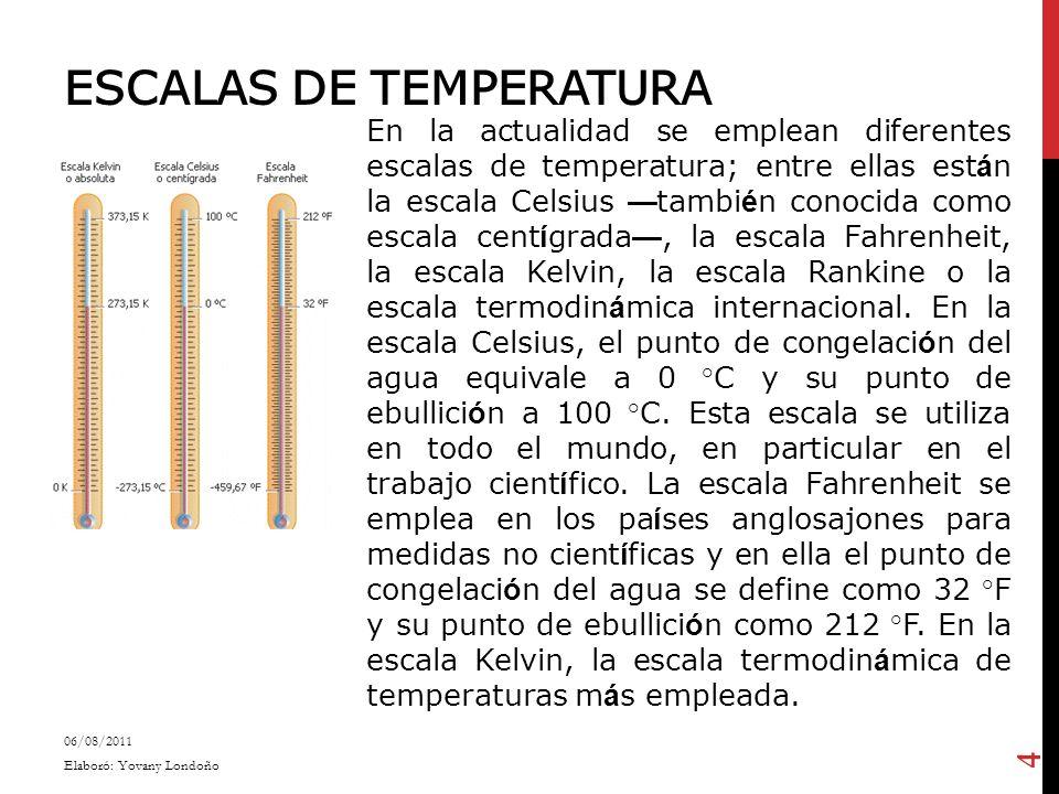 ESCALAS DE TEMPERATURA En la actualidad se emplean diferentes escalas de temperatura; entre ellas est á n la escala Celsius tambi é n conocida como es