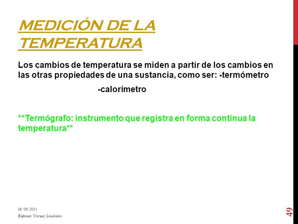 MEDICIÓN DE LA TEMPERATURA Los cambios de temperatura se miden a partir de los cambios en las otras propiedades de una sustancia, como ser: -termómetr