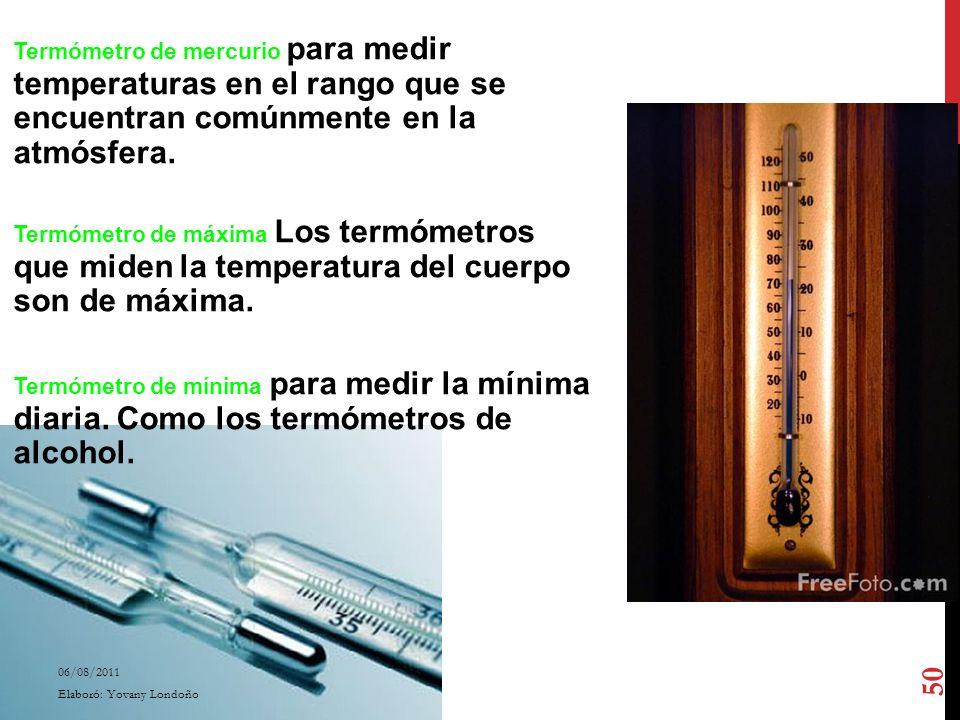 Termómetro de mercurio para medir temperaturas en el rango que se encuentran comúnmente en la atmósfera. Termómetro de máxima Los termómetros que mide