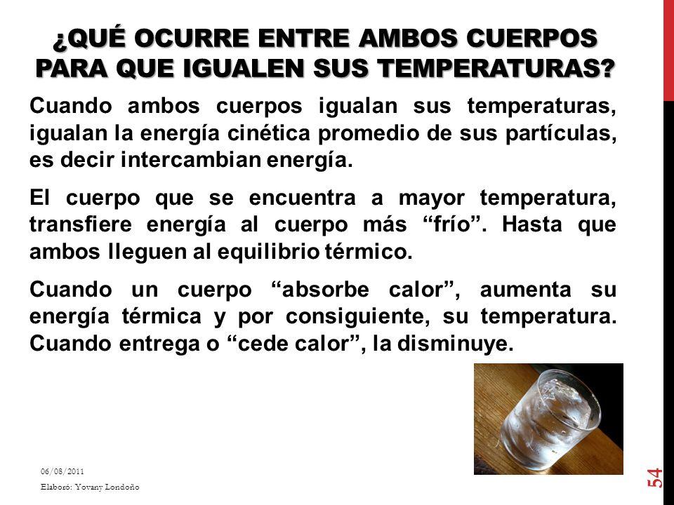 ¿QUÉ OCURRE ENTRE AMBOS CUERPOS PARA QUE IGUALEN SUS TEMPERATURAS? Cuando ambos cuerpos igualan sus temperaturas, igualan la energía cinética promedio