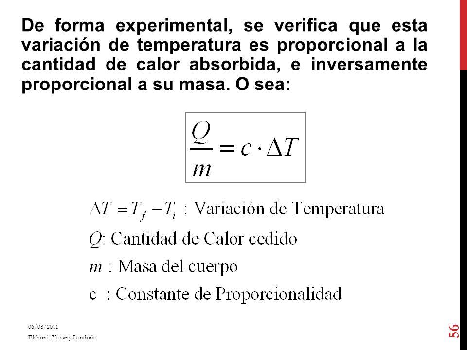 De forma experimental, se verifica que esta variación de temperatura es proporcional a la cantidad de calor absorbida, e inversamente proporcional a s