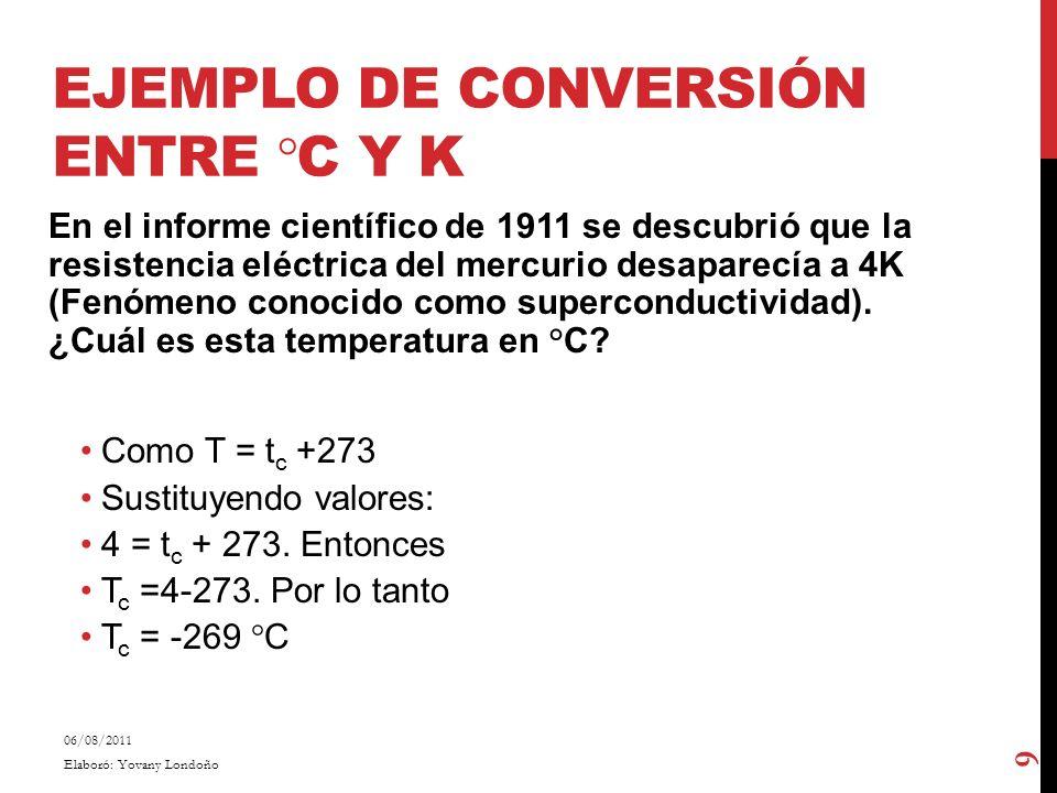 EJEMPLO DE CONVERSIÓN ENTRE °C Y K En el informe científico de 1911 se descubrió que la resistencia eléctrica del mercurio desaparecía a 4K (Fenómeno