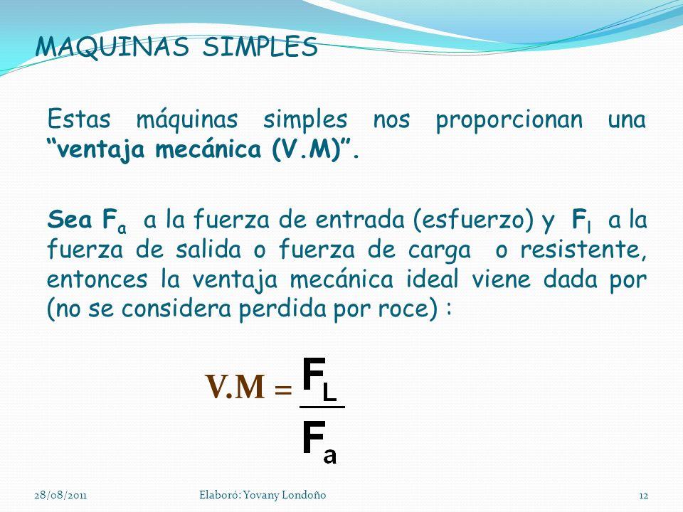 MAQUINAS SIMPLES Estas máquinas simples nos proporcionan una ventaja mecánica (V.M). Sea F a a la fuerza de entrada (esfuerzo) y F l a la fuerza de sa