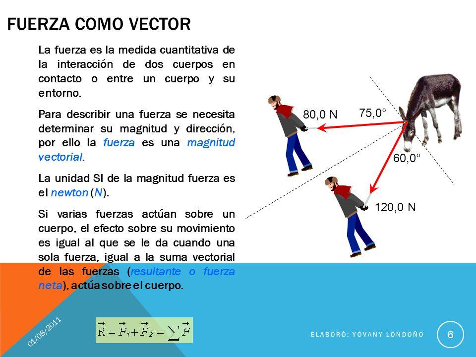 01/08/2011 ELABORÓ: YOVANY LONDOÑO 7 Por ser vectores se representan con una flecha La flecha tiene origen en el centro de gravedad del objeto que recibe la fuerza magnitud o módulo dirección sentido Tienen magnitud o módulo: es un número y una unidad de medida.