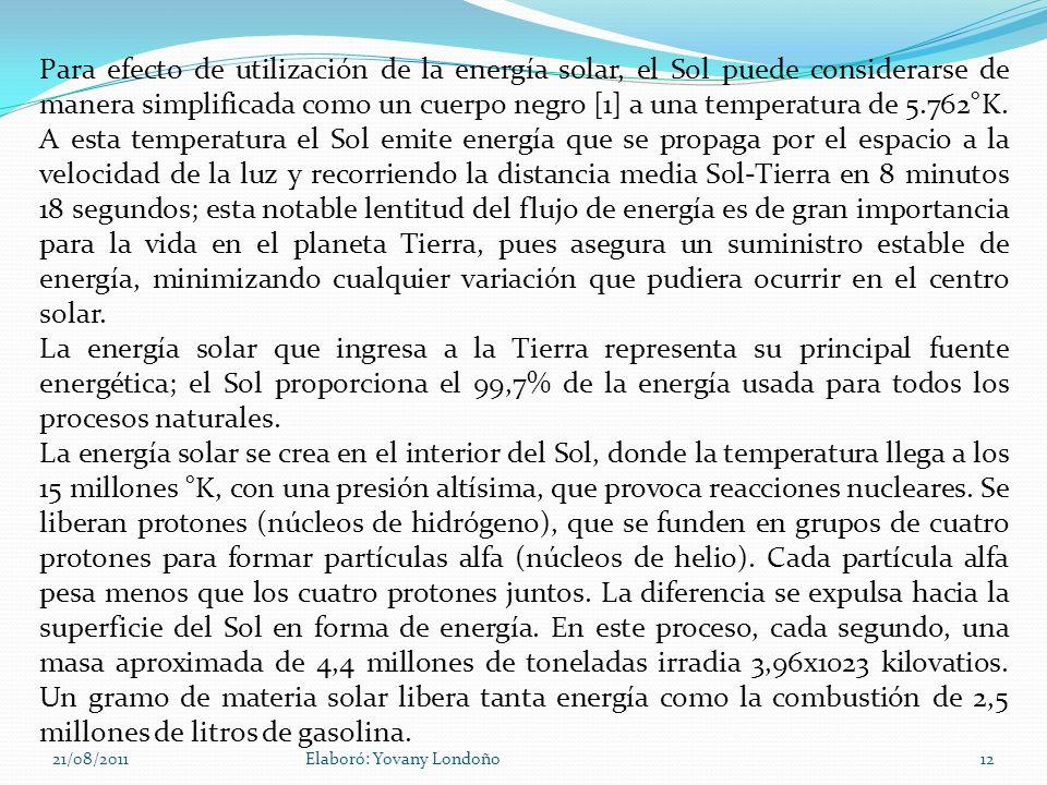 21/08/2011Elaboró: Yovany Londoño12 Para efecto de utilización de la energía solar, el Sol puede considerarse de manera simplificada como un cuerpo ne
