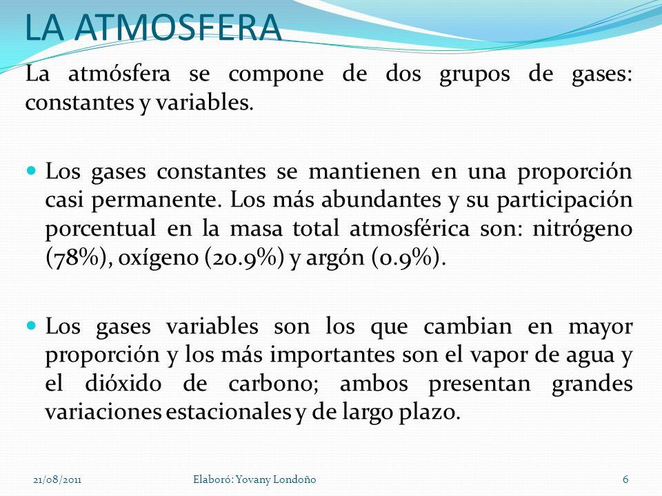 LA ATMOSFERA La atmósfera se compone de dos grupos de gases: constantes y variables. Los gases constantes se mantienen en una proporción casi permanen