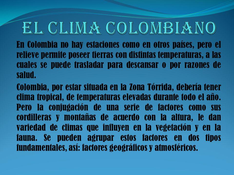 En Colombia no hay estaciones como en otros países, pero el relieve permite poseer tierras con distintas temperaturas, a las cuales se puede trasladar