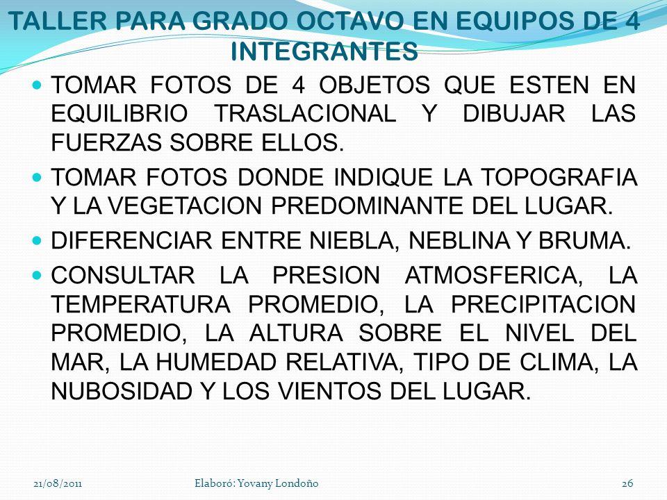 TALLER PARA GRADO OCTAVO EN EQUIPOS DE 4 INTEGRANTES TOMAR FOTOS DE 4 OBJETOS QUE ESTEN EN EQUILIBRIO TRASLACIONAL Y DIBUJAR LAS FUERZAS SOBRE ELLOS.