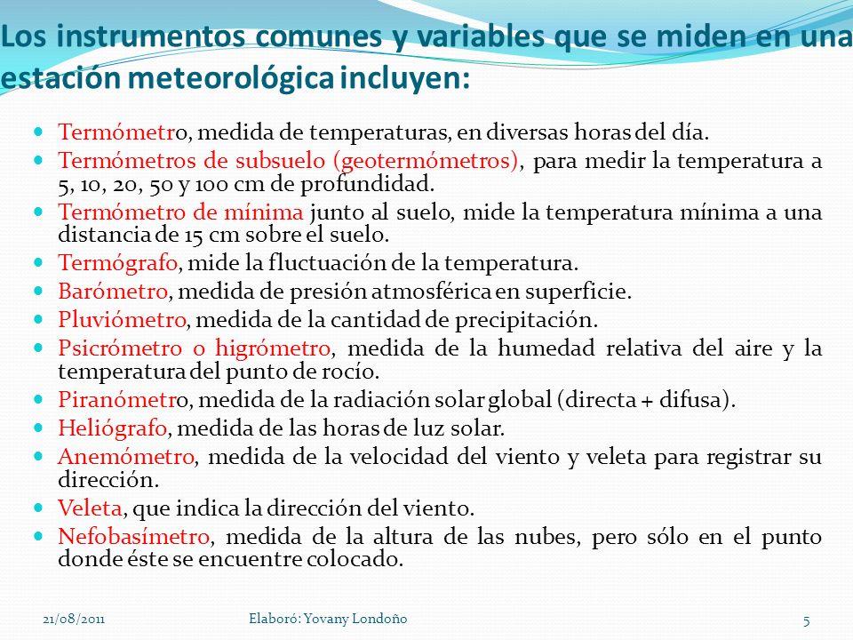 Los instrumentos comunes y variables que se miden en una estación meteorológica incluyen: Termómetro, medida de temperaturas, en diversas horas del dí