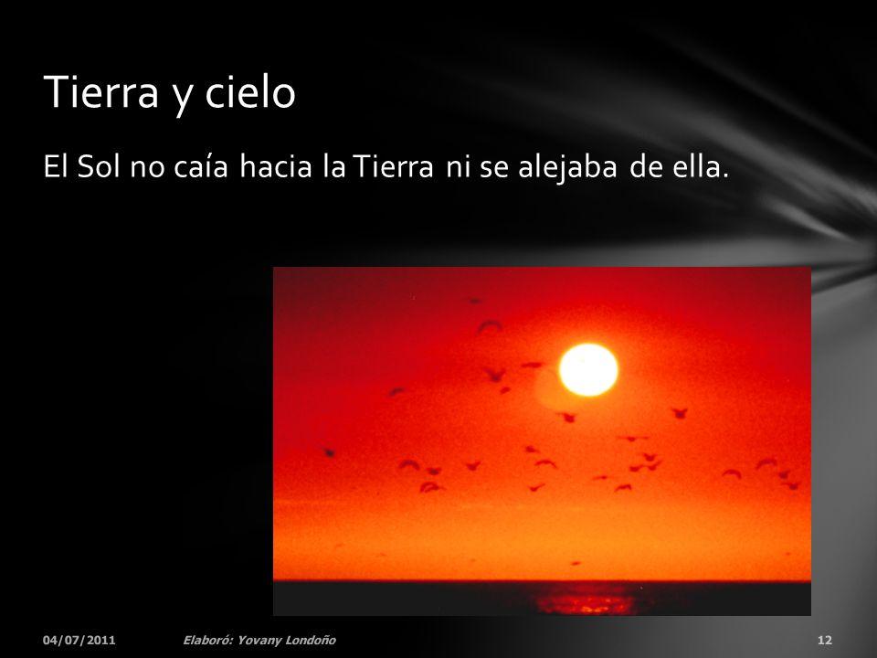El Sol no caía hacia la Tierra ni se alejaba de ella. 04/07/201112Elaboró: Yovany Londoño Tierra y cielo