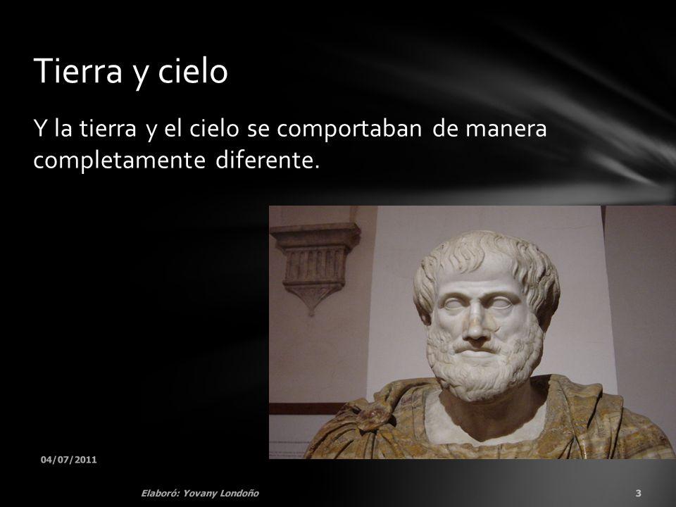 En conclusión para Aristóteles: En la Tierra el reposo.