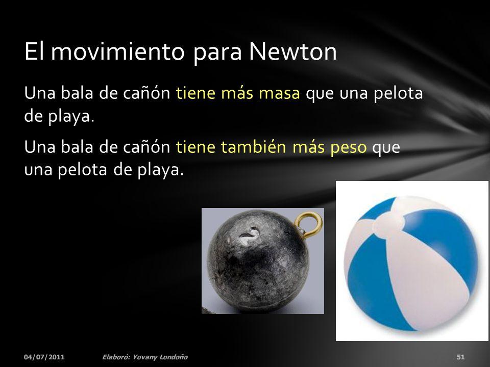 Una bala de cañón tiene más masa que una pelota de playa. Una bala de cañón tiene también más peso que una pelota de playa. 04/07/201151Elaboró: Yovan