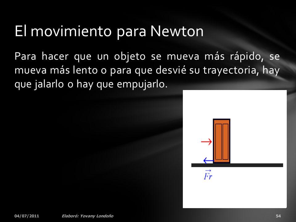 Para hacer que un objeto se mueva más rápido, se mueva más lento o para que desvié su trayectoria, hay que jalarlo o hay que empujarlo. 04/07/201154El