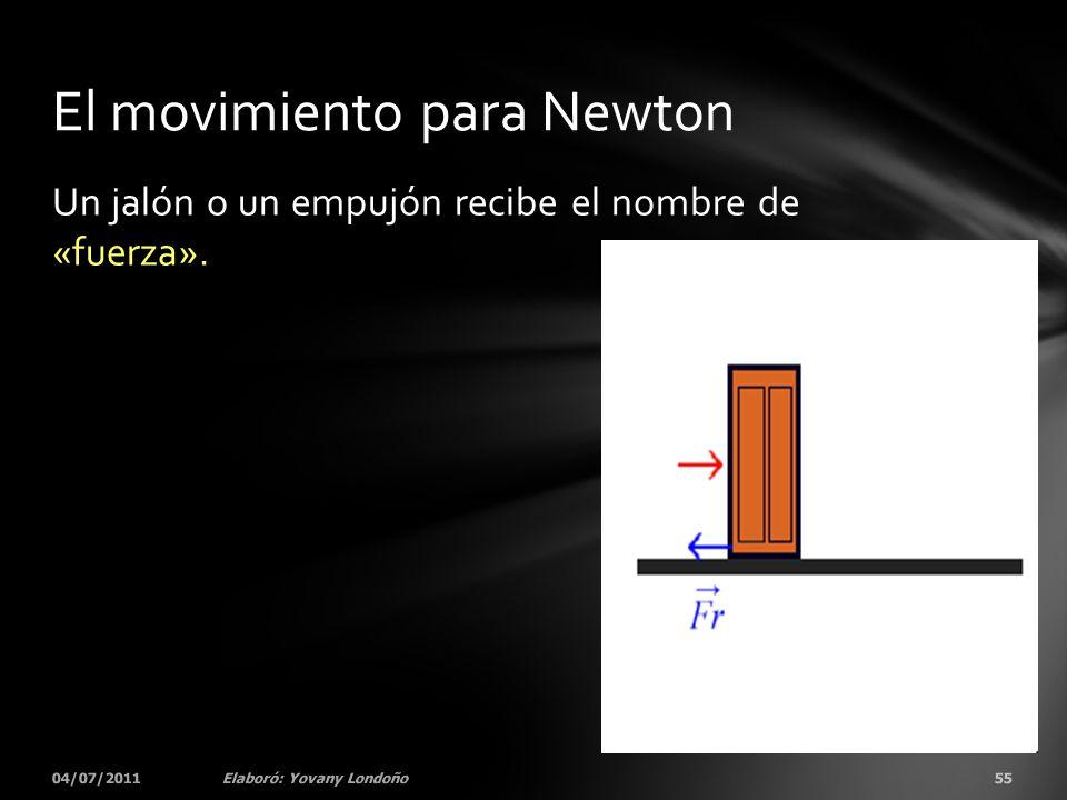 Un jalón o un empujón recibe el nombre de «fuerza». 04/07/201155Elaboró: Yovany Londoño El movimiento para Newton