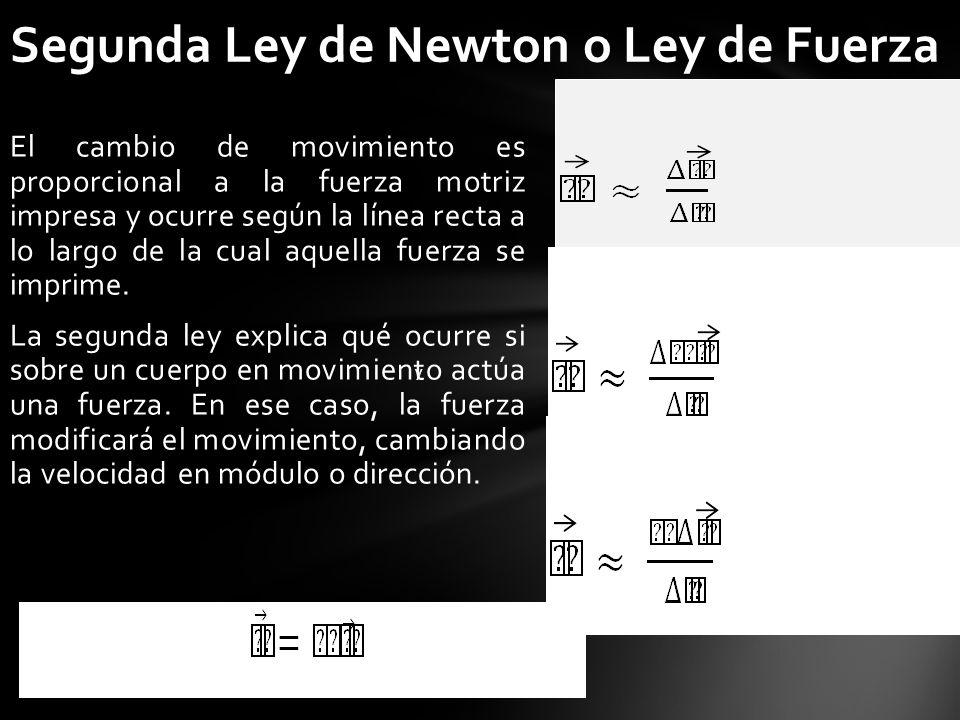 Segunda Ley de Newton o Ley de Fuerza El cambio de movimiento es proporcional a la fuerza motriz impresa y ocurre según la línea recta a lo largo de l
