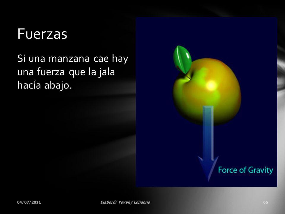 Si una manzana cae hay una fuerza que la jala hacía abajo. 04/07/2011Elaboró: Yovany Londoño65