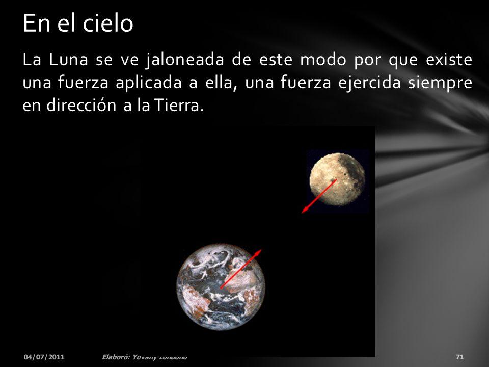 La Luna se ve jaloneada de este modo por que existe una fuerza aplicada a ella, una fuerza ejercida siempre en dirección a la Tierra. 04/07/201171Elab