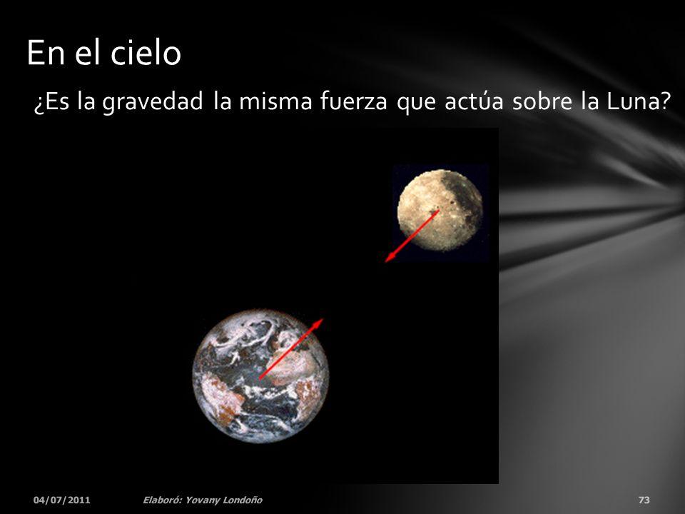 ¿Es la gravedad la misma fuerza que actúa sobre la Luna? 04/07/201173Elaboró: Yovany Londoño En el cielo