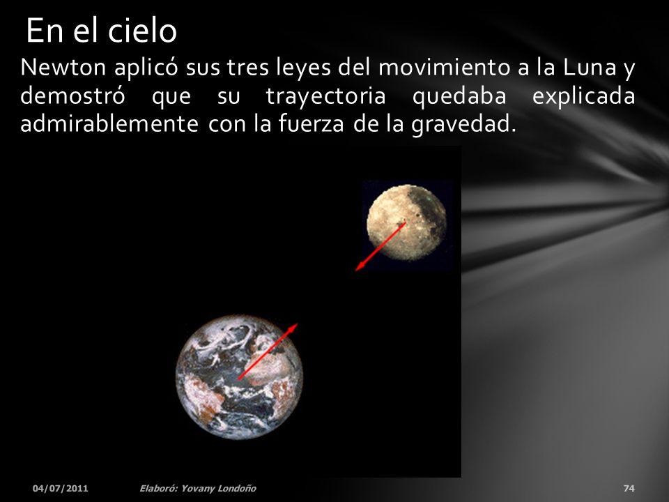 Newton aplicó sus tres leyes del movimiento a la Luna y demostró que su trayectoria quedaba explicada admirablemente con la fuerza de la gravedad. 04/