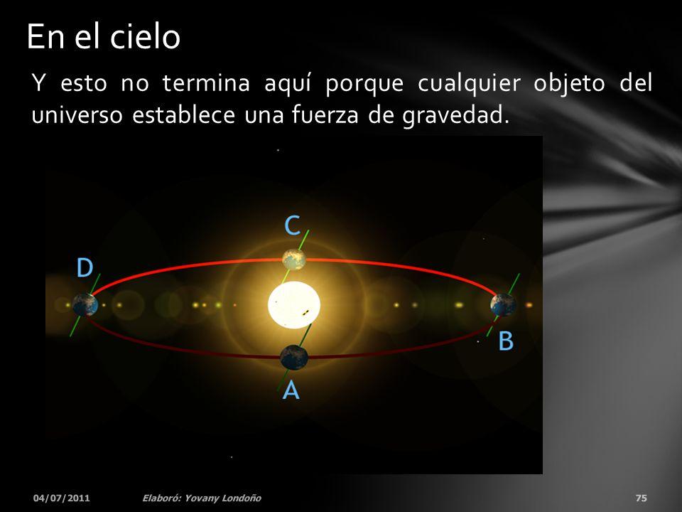 Y esto no termina aquí porque cualquier objeto del universo establece una fuerza de gravedad. 04/07/201175Elaboró: Yovany Londoño En el cielo