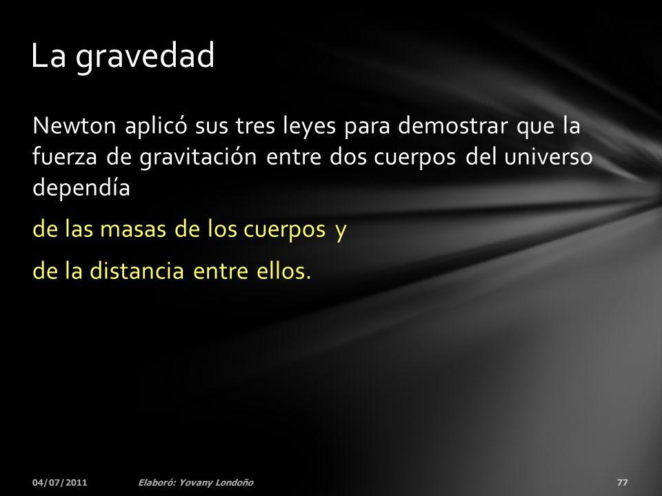 Newton aplicó sus tres leyes para demostrar que la fuerza de gravitación entre dos cuerpos del universo dependía de las masas de los cuerpos y de la d
