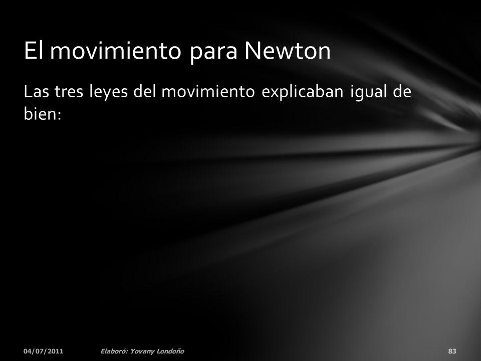 Las tres leyes del movimiento explicaban igual de bien: 04/07/201183Elaboró: Yovany Londoño El movimiento para Newton