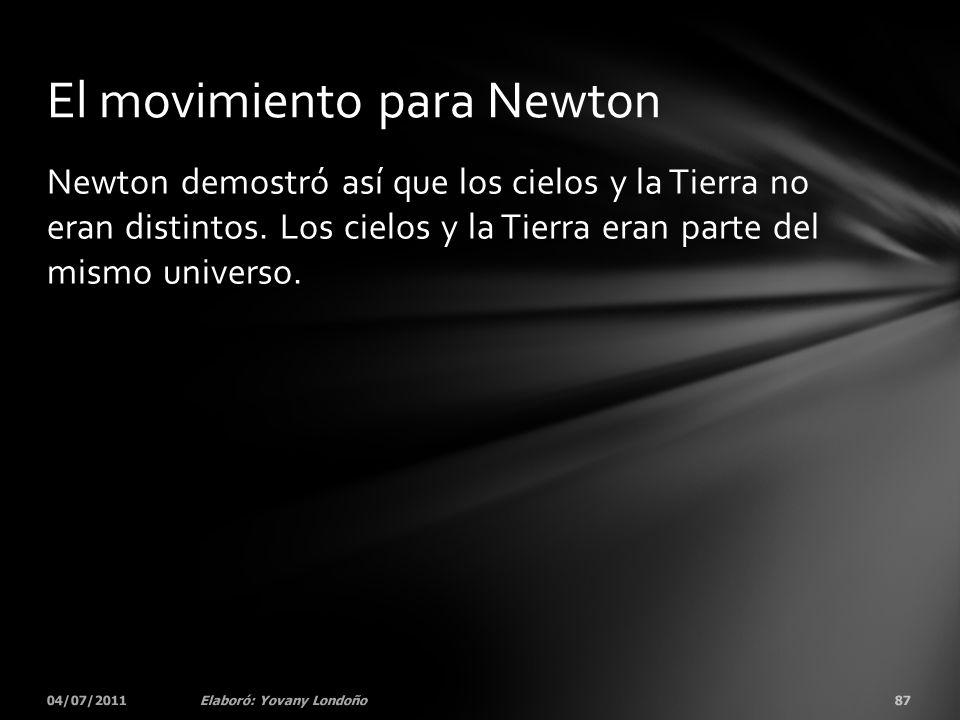 Newton demostró así que los cielos y la Tierra no eran distintos. Los cielos y la Tierra eran parte del mismo universo. 04/07/201187Elaboró: Yovany Lo