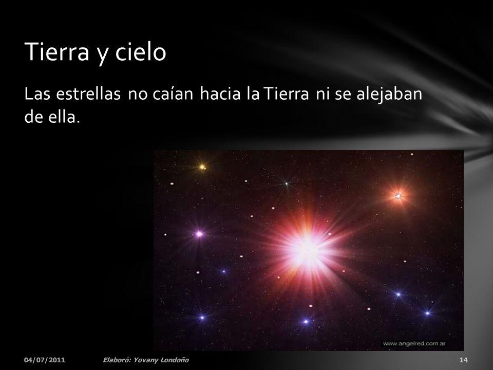 Las estrellas no caían hacia la Tierra ni se alejaban de ella. 04/07/201114Elaboró: Yovany Londoño Tierra y cielo