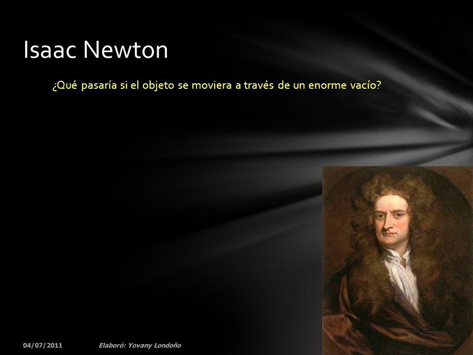 ¿Qué pasaría si el objeto se moviera a través de un enorme vacío? 04/07/201137Elaboró: Yovany Londoño Isaac Newton