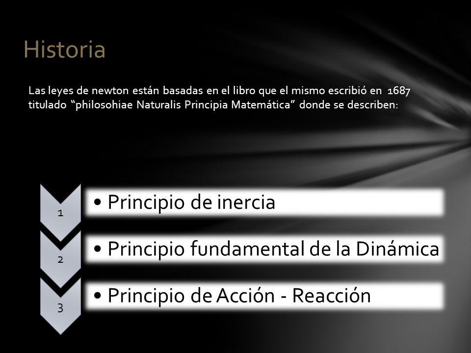 Historia Las leyes de newton están basadas en el libro que el mismo escribió en 1687 titulado philosohiae Naturalis Principia Matemática donde se desc