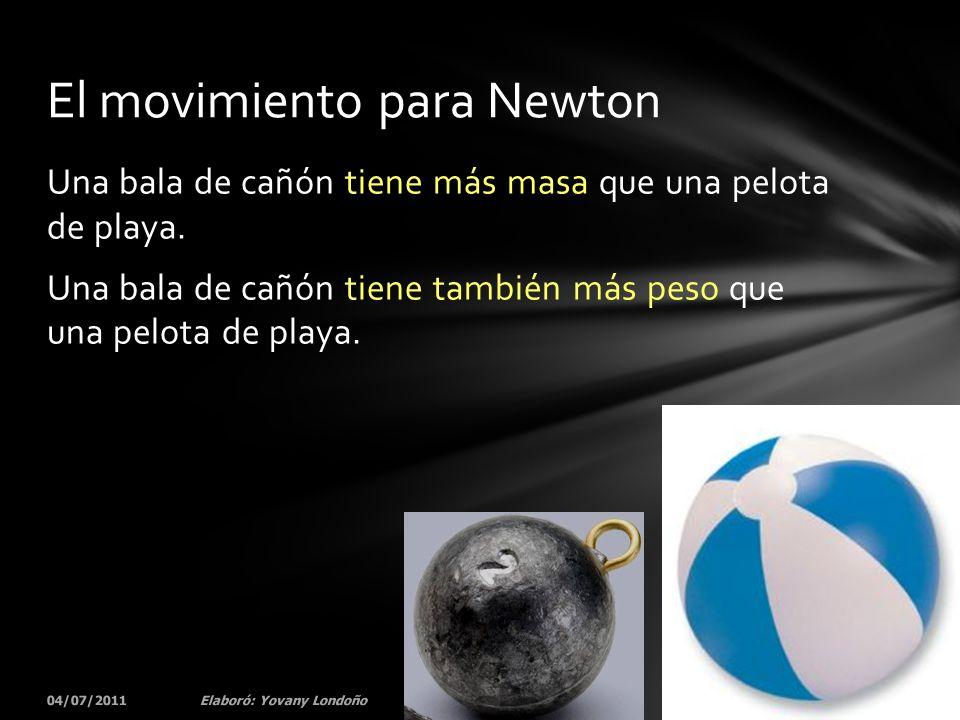 Una bala de cañón tiene más masa que una pelota de playa. Una bala de cañón tiene también más peso que una pelota de playa. 04/07/201152Elaboró: Yovan