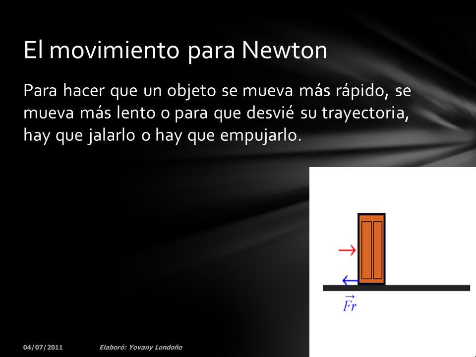 Para hacer que un objeto se mueva más rápido, se mueva más lento o para que desvié su trayectoria, hay que jalarlo o hay que empujarlo. 04/07/201155El
