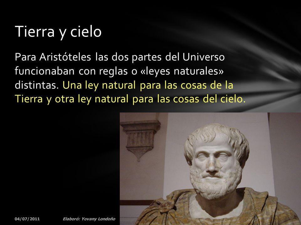 Cuando Aristóteles pensaba en el movimiento se dio cuenta que estas leyes naturales eran evidentes.
