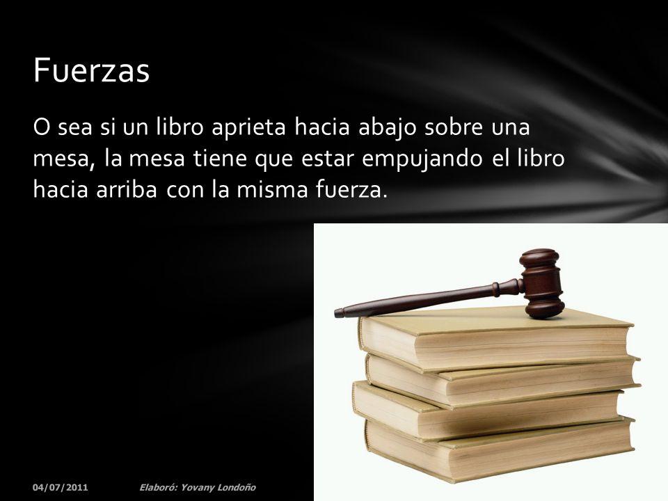 O sea si un libro aprieta hacia abajo sobre una mesa, la mesa tiene que estar empujando el libro hacia arriba con la misma fuerza. 04/07/201164Elaboró