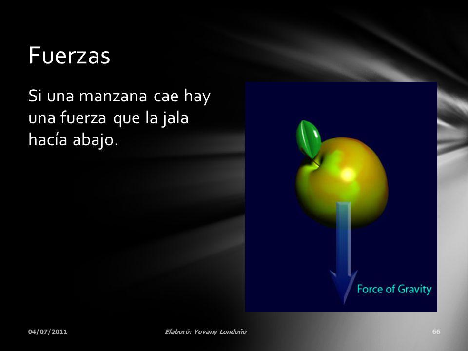 Si una manzana cae hay una fuerza que la jala hacía abajo. 04/07/2011Elaboró: Yovany Londoño66