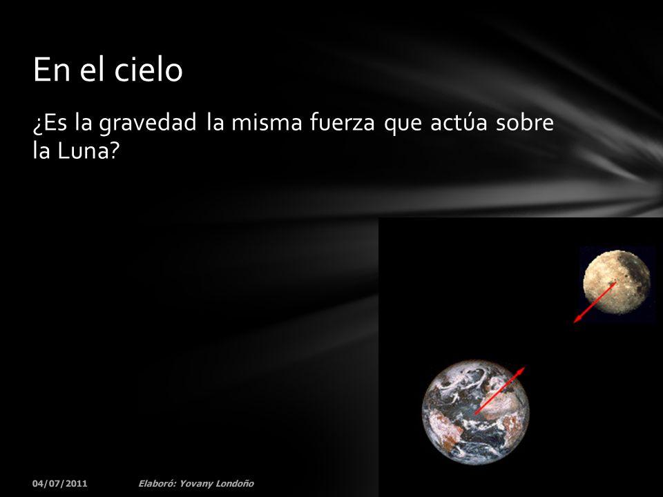 ¿Es la gravedad la misma fuerza que actúa sobre la Luna? 04/07/201174Elaboró: Yovany Londoño En el cielo