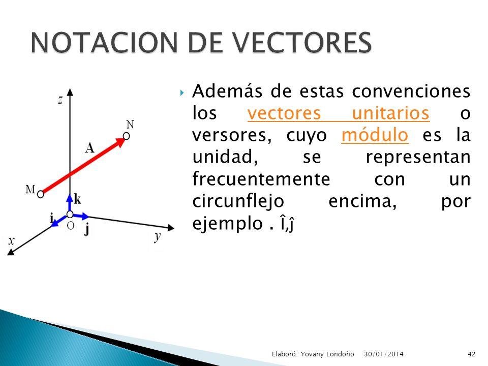 Además de estas convenciones los vectores unitarios o versores, cuyo módulo es la unidad, se representan frecuentemente con un circunflejo encima, por