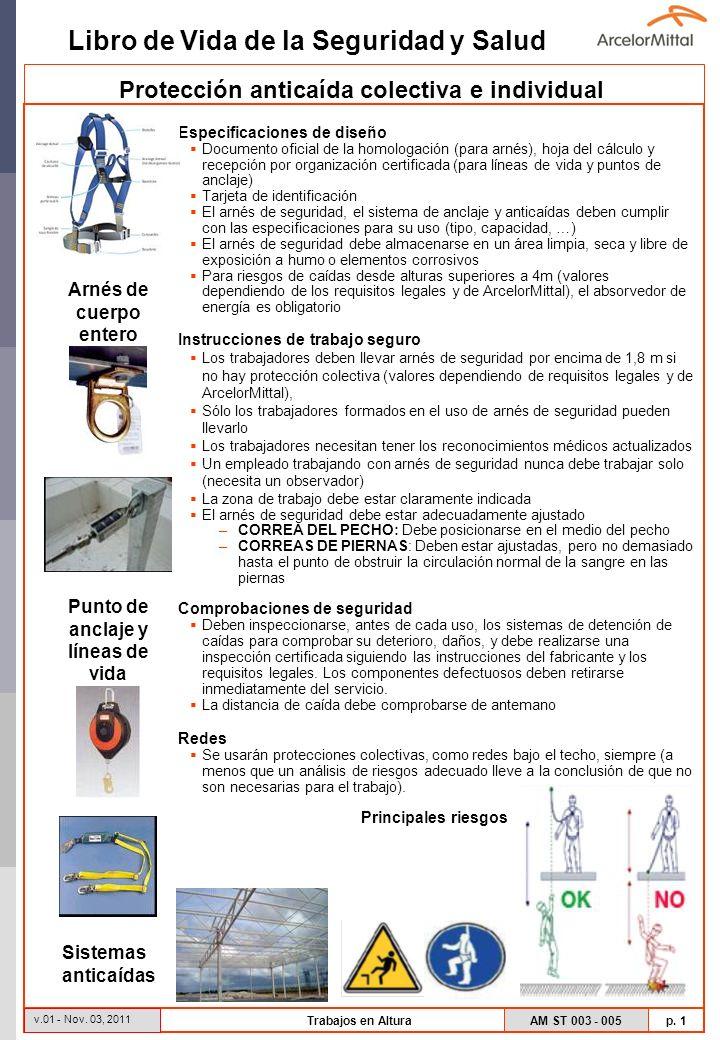 Libro de Vida de la Seguridad y Salud AM ST 003 - 005 p. 1 v.01 - Nov. 03, 2011 Trabajos en Altura Especificaciones de diseño Documento oficial de la