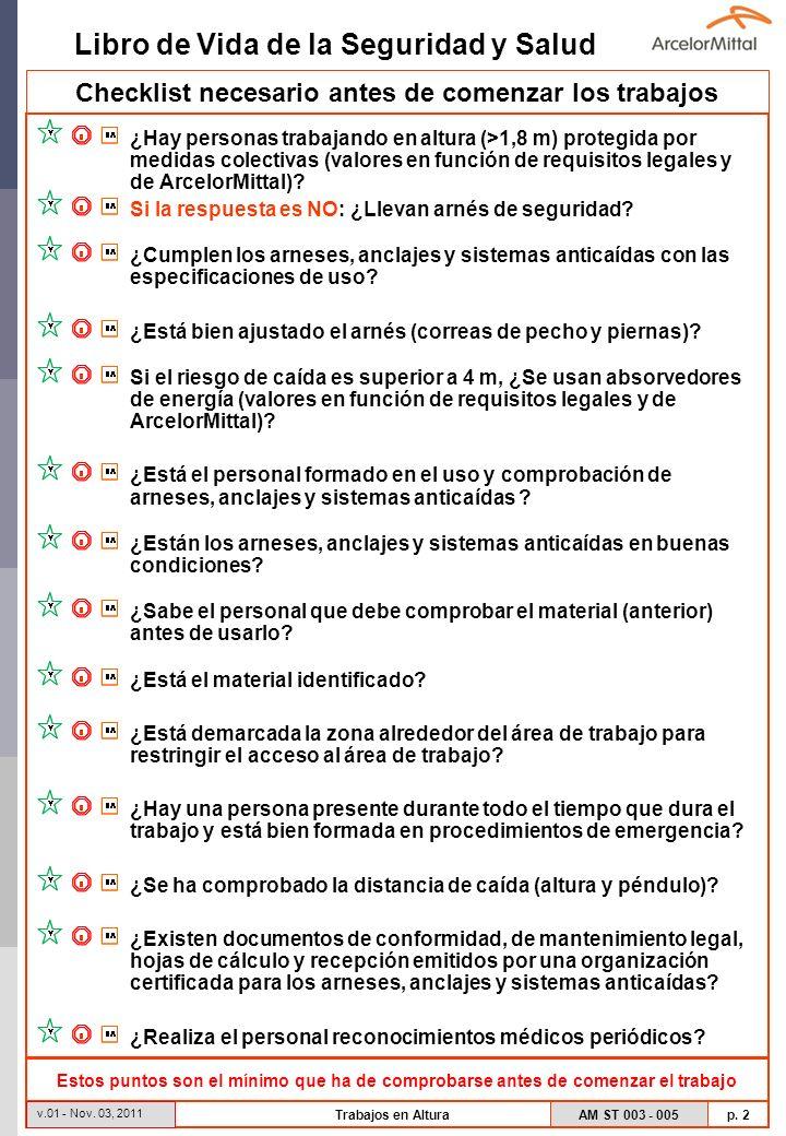 Libro de Vida de la Seguridad y Salud AM ST 003 - 005 p. 2 v.01 - Nov. 03, 2011 Trabajos en Altura Checklist necesario antes de comenzar los trabajos
