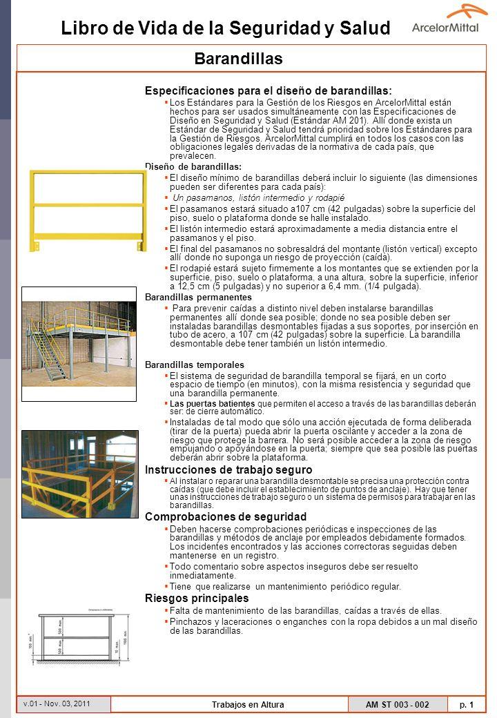 Libro de Vida de la Seguridad y Salud AM ST 003 - 002 p. 1 v.01 - Nov. 03, 2011 Trabajos en Altura Especificaciones para el diseño de barandillas: Los