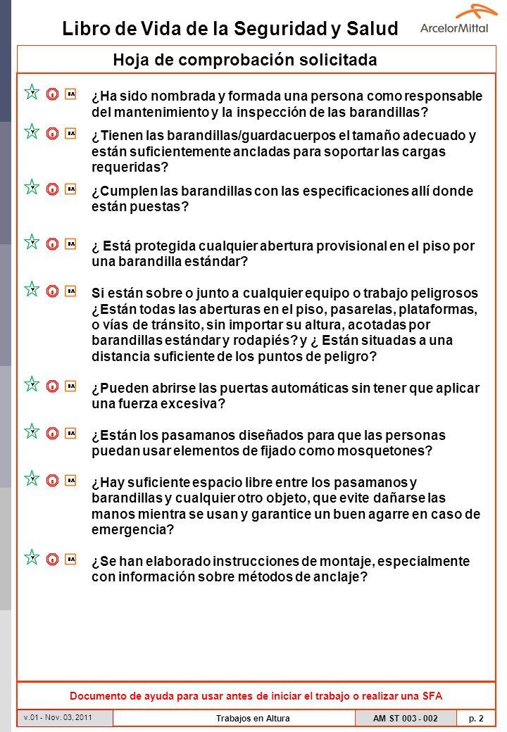 Libro de Vida de la Seguridad y Salud AM ST 003 - 002 p. 2 v.01 - Nov. 03, 2011 Trabajos en Altura Hoja de comprobación solicitada Documento de ayuda
