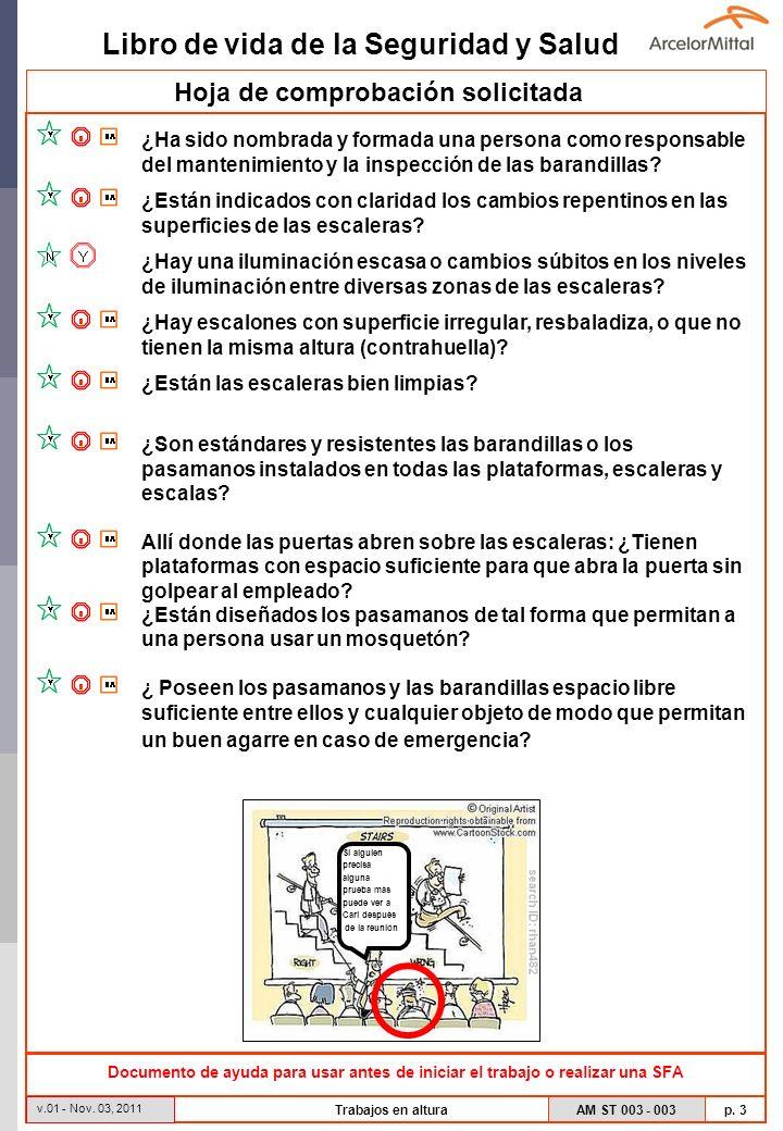 Libro de vida de la Seguridad y Salud AM ST 003 - 003 p. 3 v.01 - Nov. 03, 2011 Trabajos en altura Hoja de comprobación solicitada Documento de ayuda
