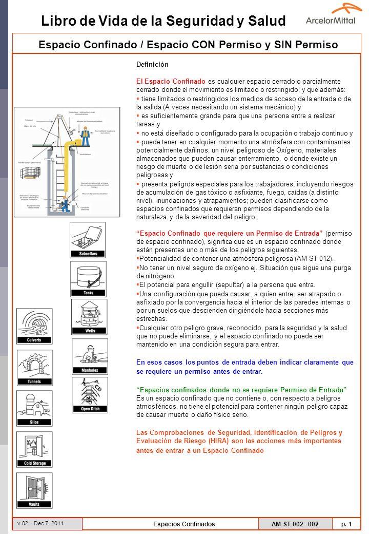 Libro de Vida de la Seguridad y Salud AM ST 002 - 002 p. 1 v.02 – Dec 7, 2011 Espacios Confinados Espacio Confinado / Espacio CON Permiso y SIN Permis