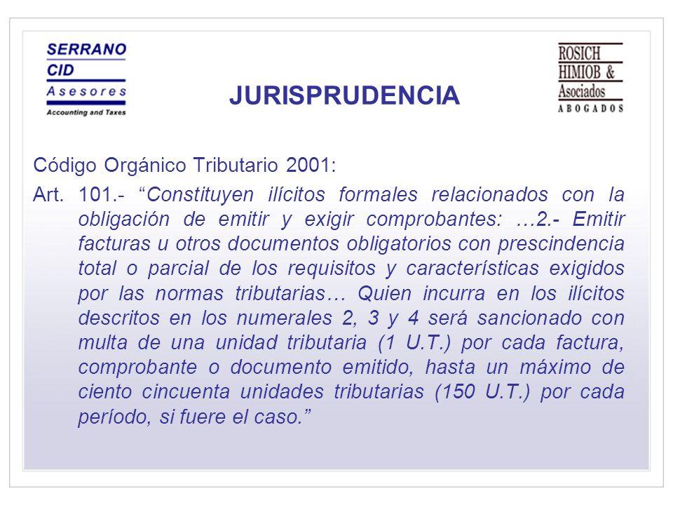 JURISPRUDENCIA Código Orgánico Tributario 2001: Art.