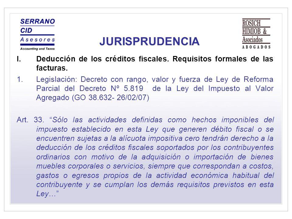 JURISPRUDENCIA I.Deducción de los créditos fiscales.